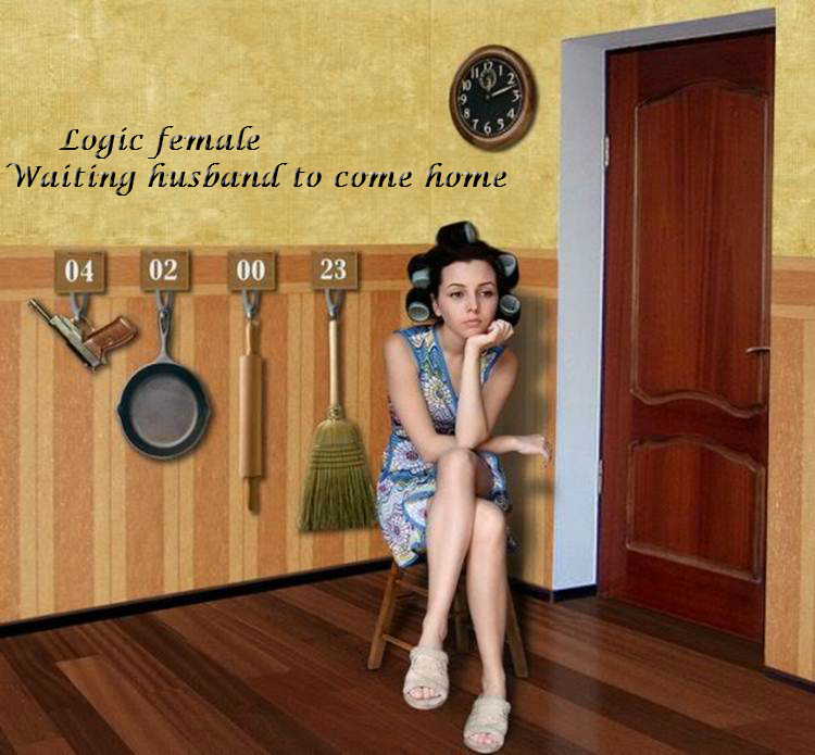 Logic female - waiting husband to come home